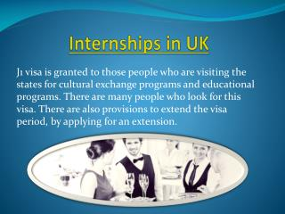 J 1 Internship & Intership in UK
