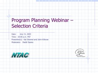 Program Planning Webinar – Selection Criteria