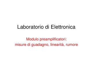 Laboratorio di Elettronica