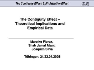 The Contiguity Effect –  Theoretical Implications and Empirical Data