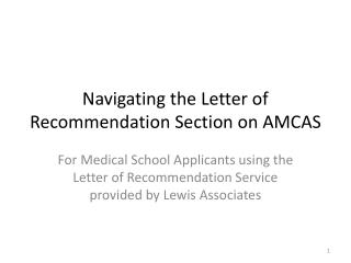 Navigating the Letter of Recommendation Section on AMCAS