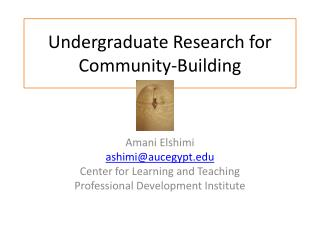 Undergraduate Research for Community-Building