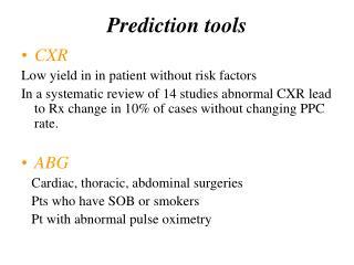 Prediction tools
