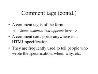 Comment tags (contd.)