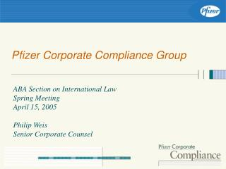Pfizer Corporate Compliance Group