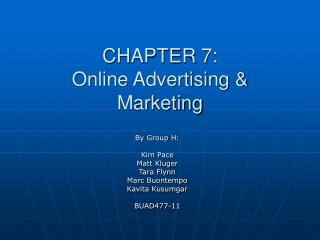 CHAPTER 7: Online Advertising & Marketing
