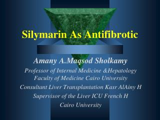 Silymarin As  Antifibrotic