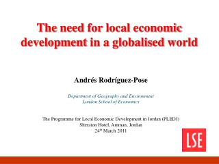 The need for  local  economic development  in a  globalised world