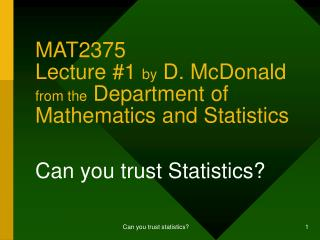 MAT2375 Lecture #1  by  D. McDonald  from the  Department of Mathematics and Statistics
