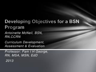 Developing Objectives for a BSN Program