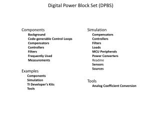 Digital Power Block Set (DPBS)