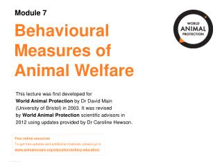Behavioural Measures of Animal Welfare