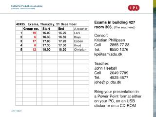 Exams in building 427 room 306.  (The south-end) Censor: Kristian Phillipsen Cell 	2865 77 28