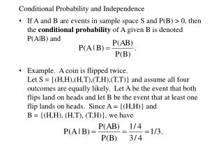 Conditional Probability and Independence