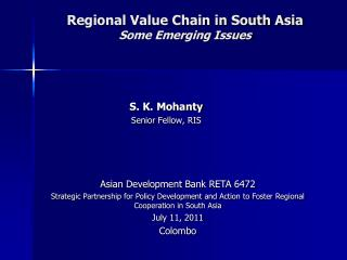 Regional Value Chain in South Asia  Some Emerging Issues