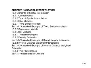 CHAPTER 16 SPATIAL INTERPOLATION 16.1 Elements of Spatial Interpolation 16.1.1 Control Points