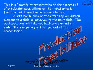 This is a PowerPoint presentation on the concept of  of production possibilities or the transformation  function and alt
