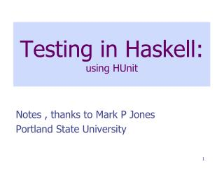 Testing in Haskell: using  HUnit