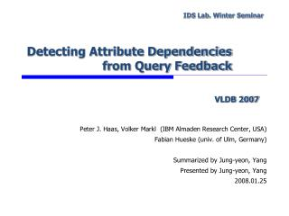 Detecting Attribute Dependencies from Query Feedback