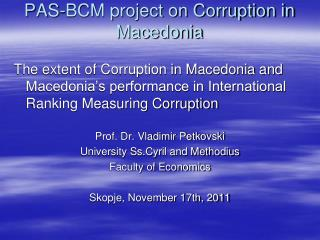 PAS-BCM project on Corruption in Macedonia