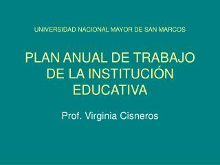 UNIVERSIDAD NACIONAL MAYOR DE SAN MARCOS PLAN ANUAL DE TRABAJO DE LA INSTITUCIÓN EDUCATIVA