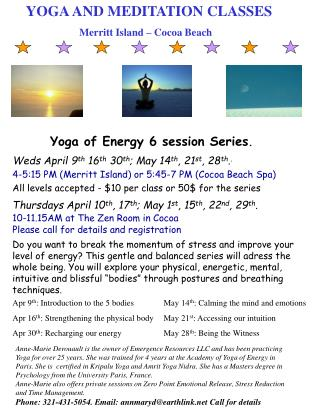 YOGA AND MEDITATION CLASSES      		Merritt Island – Cocoa Beach