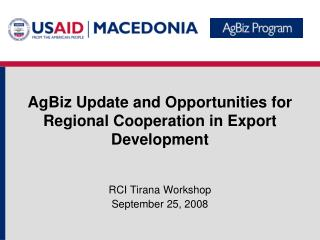 RCI Tirana Workshop September 25, 2008