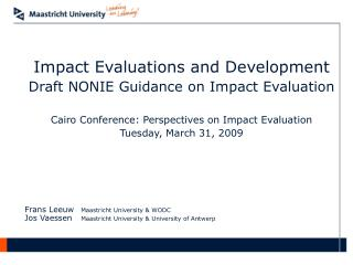 Impact Evaluations and Development Draft NONIE Guidance on Impact Evaluation