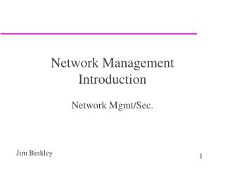 Network Management Introduction