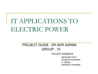 IT APPLICATIONS TO ELECTRIC POWER