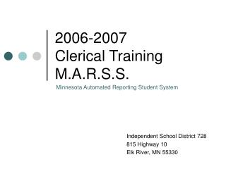 2006-2007 Clerical Training M.A.R.S.S.