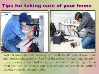 Tips for taking care of your home