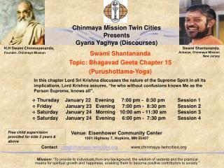 Swami Shantananda   Topic: Bhagavad Geeta Chapter 15  (Purushottama-Yoga)
