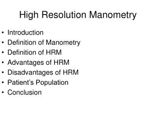 High Resolution Manometry