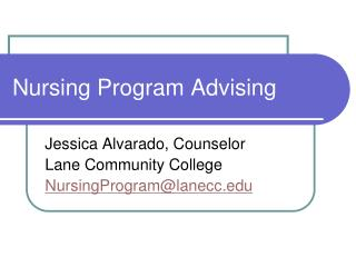Nursing Program Advising