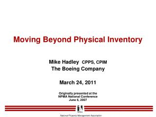 Moving Beyond Physical Inventory