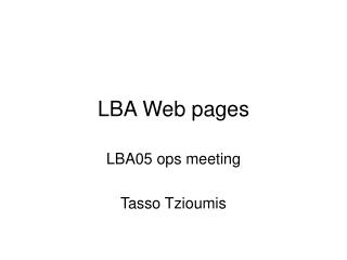 LBA Web pages