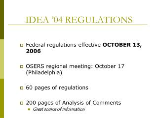 IDEA '04 REGULATIONS