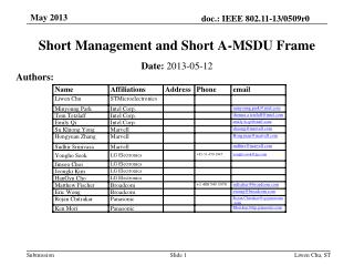 Short Management and Short A-MSDU Frame