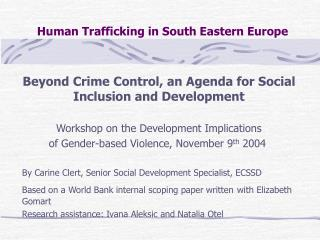Human Trafficking in South Eastern Europe