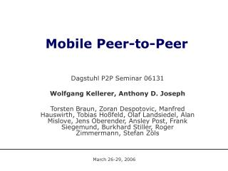 Mobile Peer-to-Peer