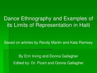 Dance Ethnography and Examples of its Limits of Representation in Haiti