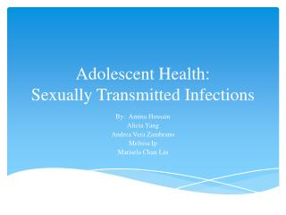 Adolescent Health:  Sexually Transmitted Infections
