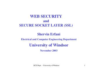 WEB SECURITY and  SECURE SOCKET LAYER (SSL)