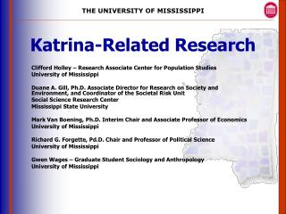 Katrina-Related Research