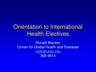 Orientation to International Health Electives