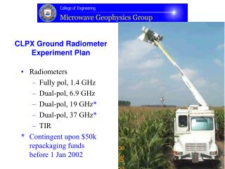 CLPX Ground Radiometer Experiment Plan
