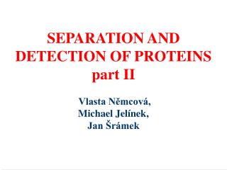 SEPARATION AND  DETECTION OF PROTEINS  part II  Vlasta Němcová, Michael Jelínek, Jan Šrámek