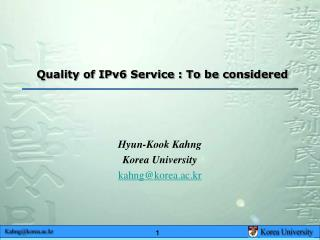 Quality of IPv6 Service : To be considered