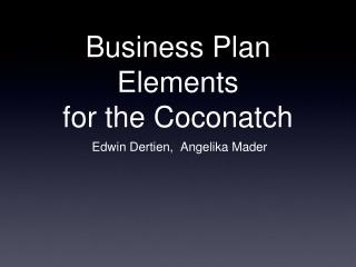 Business Plan Elements for the Coconatch